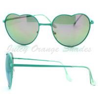 Love Heart Shape Sunglasses Metal Frame Multicolor Reflective Lens 5 Colors