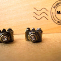 Camera Earrings Studs Mini Camera Earrings by Bitsofbling on Etsy