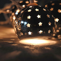Starry Night Lights 10 Silver Metal Globes Lights  Plug In  String Lights (9.5') $13