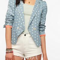 Urban Outfitters - Line &amp; Dot Polka Dot Denim Blazer