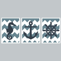 Nautical Nursery Room Set - Chevron Kids Wall Art - Seahorse, Anchor, Helm - Blue Decor - DIY Pritable 5x7 Digital Files