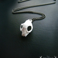 White Cat Skull Necklace, Cat necklace, Modern animal necklace, skull, cool jewelry, animal skull, animal jewellery, goth