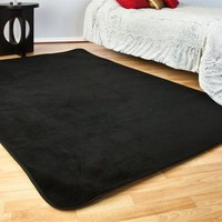 Microfiber Dorm Rug Black is an affordably cheap dorm rug option with a high quality soft feel that most cheap dorm carpets do not offer perfect dorm floor covering