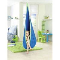 La Siesta Joki Hanging Crows Nest Soft Fabric Hammock Swing - Holds 175 pounds - 27 x 59 in - Blue: Office Products