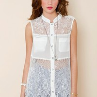 Picnic Silk Top in  Features Blinded By The Light at Nasty Gal