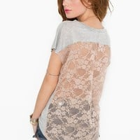 Lace Back Tee in  Features Blinded By The Light at Nasty Gal
