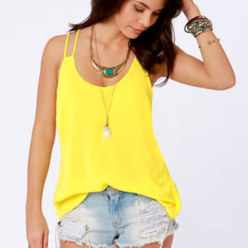 Costa Blanca Flutterby Bright Yellow Tank Top