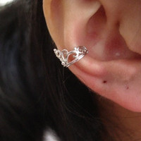 Silver Crown Ear Cuff