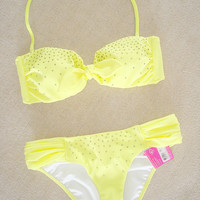 New Victoria's Secret Rhinestone Embellished Bandeau Bikini Swimsuit S XS
