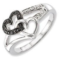 Genuine IceCarats Designer Jewelry Gift Sterling Silver Black & White Diamond Heart Ring Size 6.00