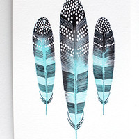 Feather Painting - Watercolor Art - Archival Print - 8x10 Taos Feathers