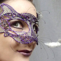 Cat masquerade mask purple ladies handmade by gringrimaceandsqueak