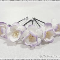 Cherry blossom hair pins. Set of 5. Perfect as wedding hair pins, prom or any other event. Updo pins, booby pins