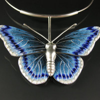 Bird Food- Enameled blue butterfly necklace set in sterling silver statement necklace