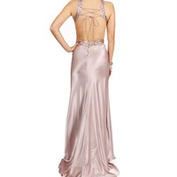 Harmony- Taupe Open Back Long Prom Dress