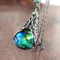 Aqua Emerald Necklace Sterling Silver Swarovski Blue Green Crystal Necklace Victorian Forest Green Necklace
