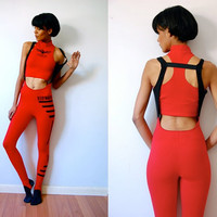 Vtg 90s Workout 2 Piece Stirrup Bodymaster Red &amp; Black Leotard