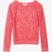 Rhinestoned Lace Top