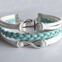 infinity bracelet, anchor bracelet, mint bracelets, infinity charm and anchor charm, men's women's leather bracelets, braided bracelets