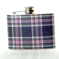 4oz Stainless Steel Hip Flask with purple plaid wrap