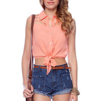 Laticia Tie Top in Salmon