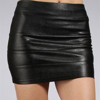 Black Faux Leather Banded Mini Skirt