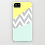 Mint & Yellow Chevron Color Block iPhone Case by daniellebourland