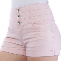WallFlower Juniors Shimmer High Waisted 3 Button Short Shorts