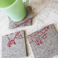 butcher's diagram of a pig coasters