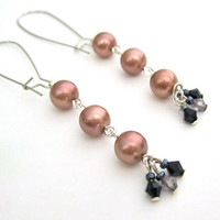 Repurposed Pearl Earrings Long Pink Dangle OOAK Handmade Jewelry