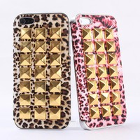 Fashion Full Rivet On the Leopard Hard Cover Case For Iphone 4/4s
