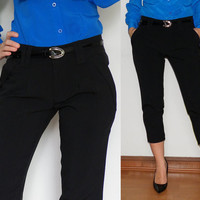 High Waisted Capri Pants Cropped Trousers Slim Skinny fit in Black Women
