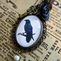 Victorian Raven Steampunk Cabochon Necklace by evelynadams on Etsy