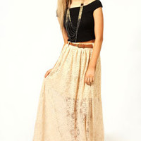 Jess All Over Crochet Belted Maxi Skirt
