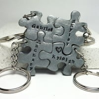 Personlized with Your Names Puzzle Pieces Interlocking Key Chains 4 piece set  #keychain