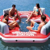 INTEX Pacific Paradise Relaxation Station Water Lounge 4-Person River Tube Raft: Sports &amp; Outdoors