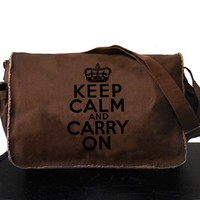 Keep Calm Carry On Messenger Bag Large Brown Vintage British Ca...... | bagnabitbags - Bags & Purses on ArtFire