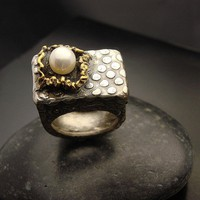 Across the Universe Fine silver pearl and gold by designsbysuzyn