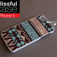 iphone 5 case - Geometric aztec mint on wood print iphone case