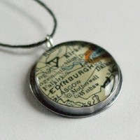 Supermarket: Sterling Edinburgh Vintage Map Pendant from Anne Holman Jewelry Design
