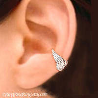 925. Tiny Angel wing earcuff - Sterling Silver ear cuff earring, cartilage non pierced jewelry for men and women 122312