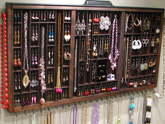 Jewelry Display with ring cubby by BlackForestCottage on Etsy