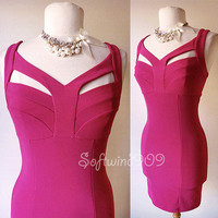 NEW Forever 21 Fuchsia Pink Cutout Neckline SEXY Bandage Bodycon CLUB Hot Dress