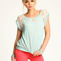Crochet Panel Knit Top