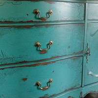 French Provincial buffet in an antiqued teal green by Artisan8