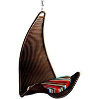 Outback Urban Balance Curved Hanging Chair with Pillow, Stripe