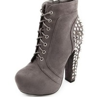 Stud Back Sueded Lace-Up Bootie: Charlotte Russe