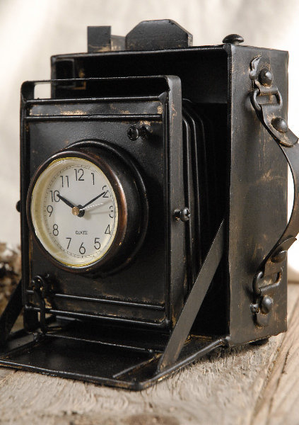 Classic  Metal Case Camera Clock (6x6) $19