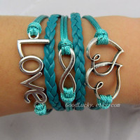 Telesthesia Infinity LOVE lovers bracelet-silver 8 infinity,LOVE,Heart bracelet-green wax rope and leather braided bracelet