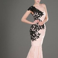 One Shoulder Black Lace Evening Gown by Svetlana